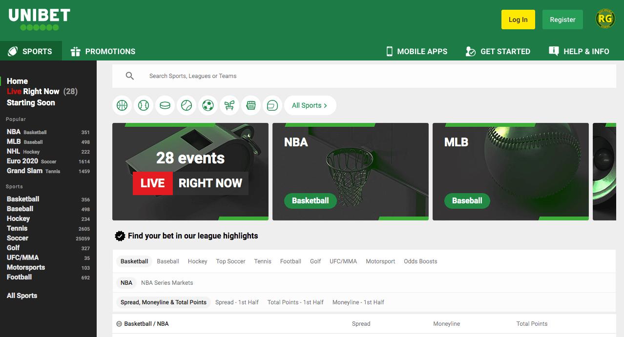 Unibet Sportsbook Lobby