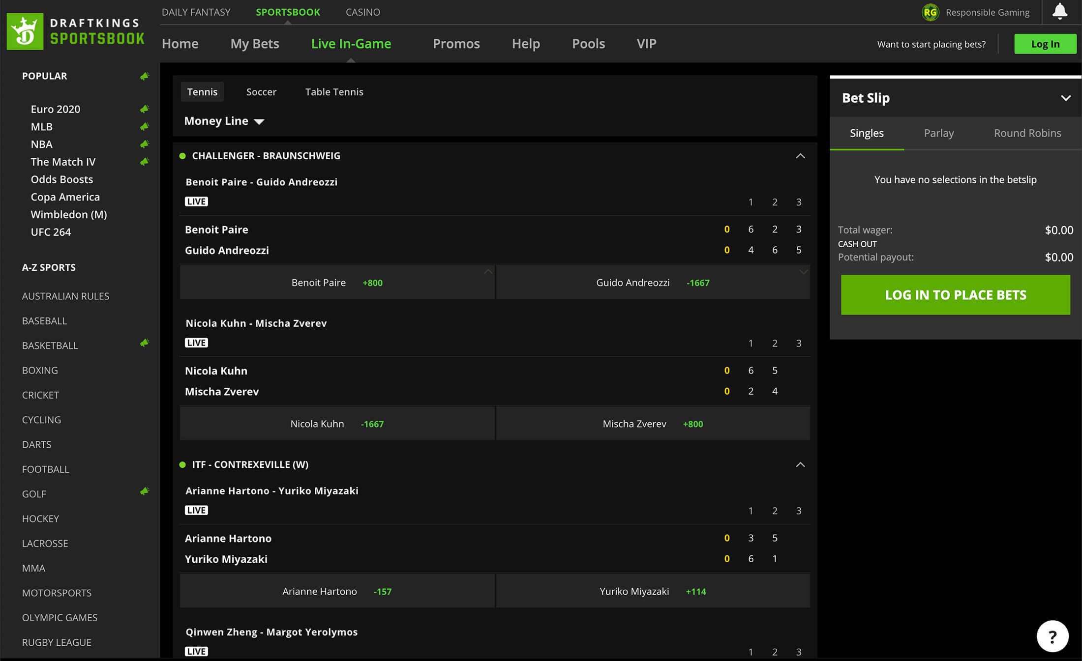DraftKings Sportsbook Live Betting